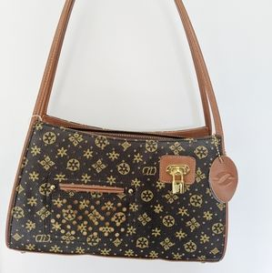 🐻Printed brown faux leather shoulder bag 🐻